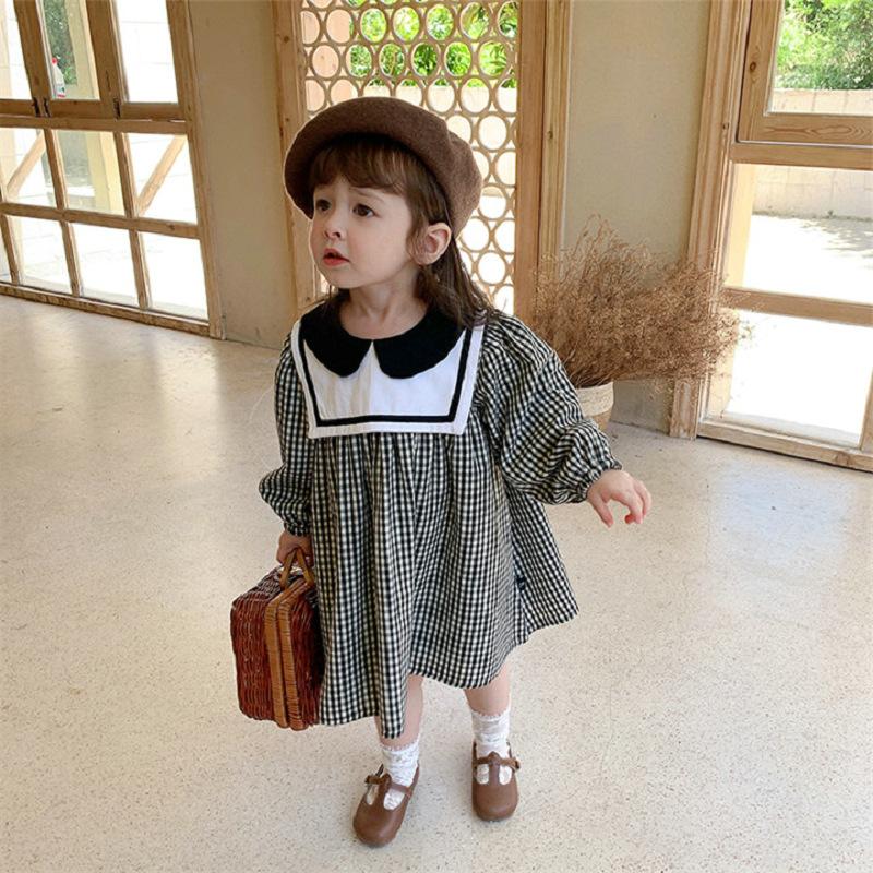 キッズ春新作 女の子 ワンピ  シフトドレス 長袖ワンピース チェック柄 セーター襟 韓国風子供服 7-15