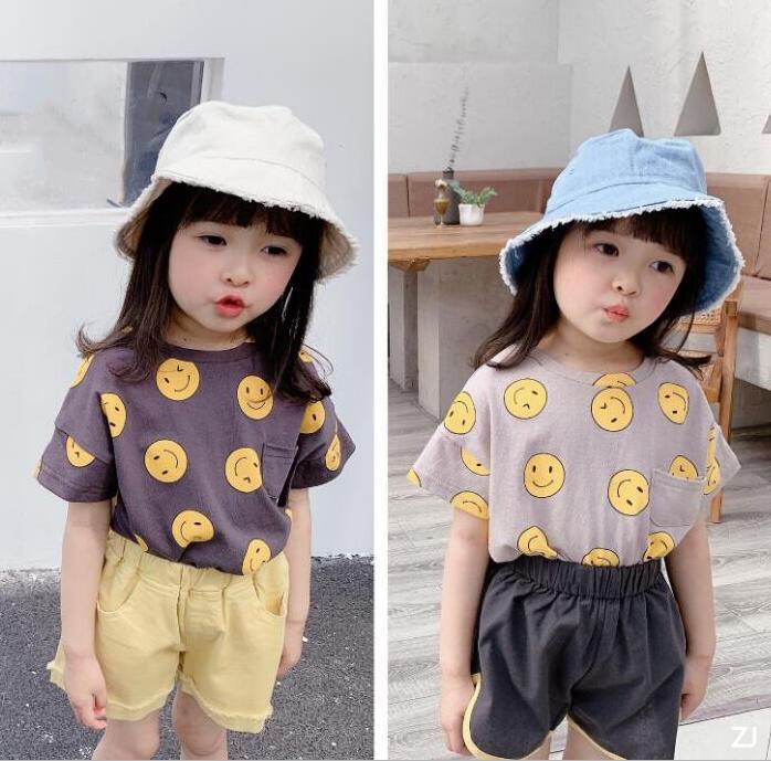 2021夏新作★韓国子供服★シャツ★Tシャツ★キッズ女の子★キッズ★笑顔★2色★80-130CM