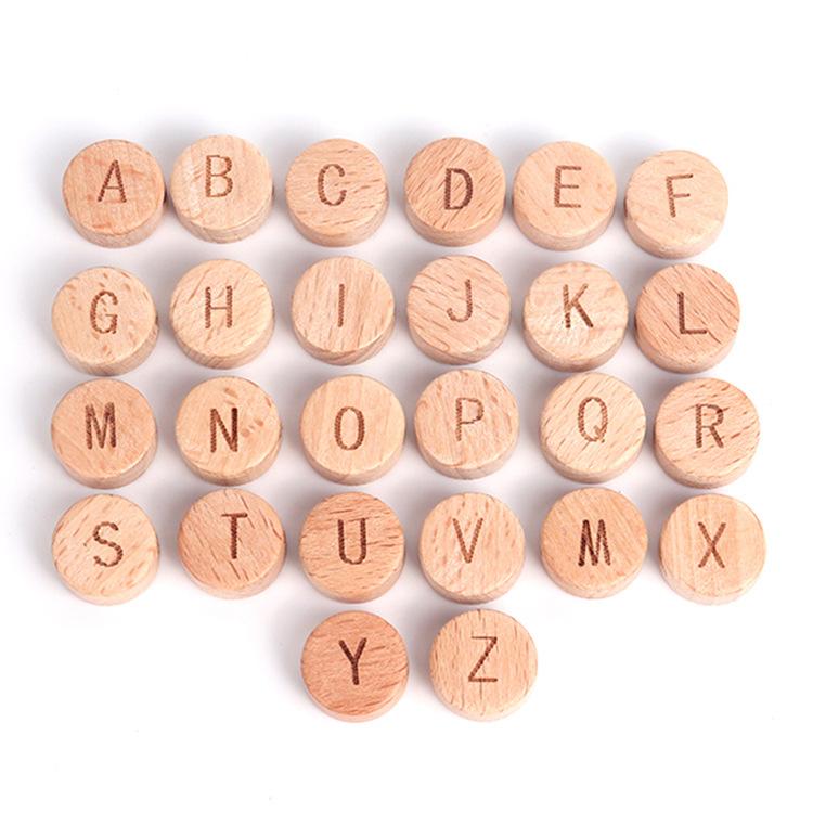 玩具☆ファション小物☆木製☆26字母☆ウェハ15 mm☆おもちゃ☆子供☆ベビー用品☆欧米ヒット☆新品