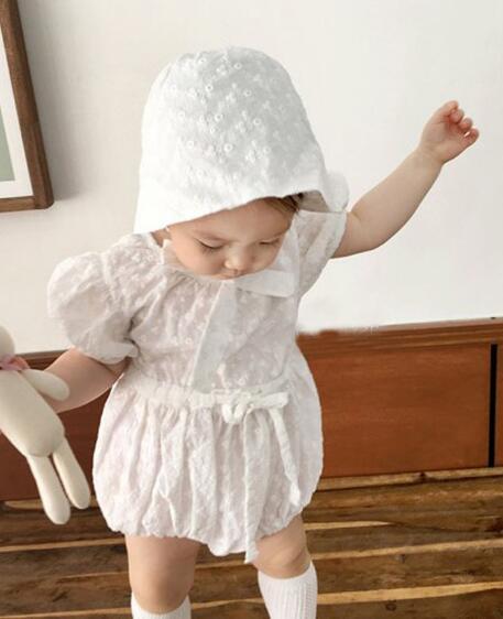 2020新品★大人気★子供服2点セット★ロンパース+帽子★可愛い★刺繍★ベビー服★連体服★66-90