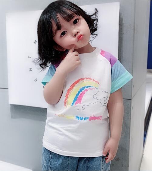 2020★夏新作★可愛い★レインボー★Tシャツ★キッズ★子供服★半袖 ★カジュアル★7-15