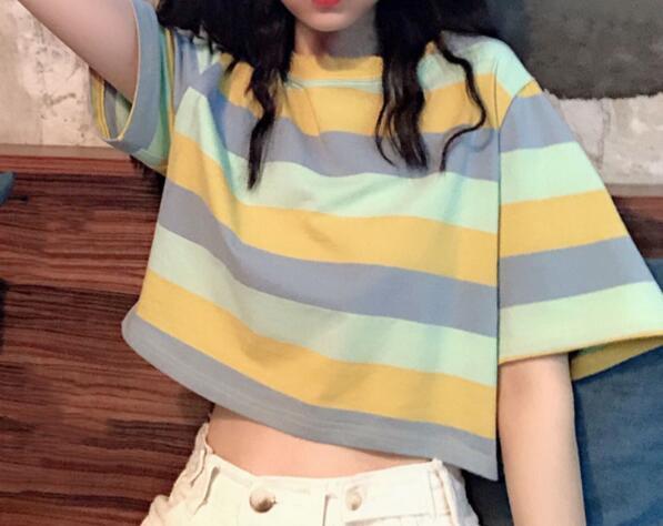 2020★夏新品★ファッション★ストライプ★Tシャツ★半袖★ショート★2色M-2XL