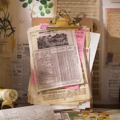 ins塩系文具☆素材紙◆メモポスト★手帳素材★アンティーク 復古 植物デザート 手形 楽譜 40枚入