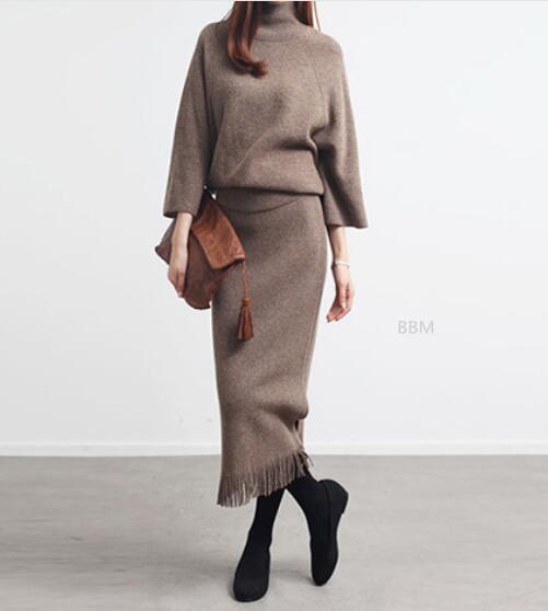 2020★秋冬新作★おしゃれ★セーター+半身スカート2セット★スーツ★長袖★ハイネック★4色S-XL