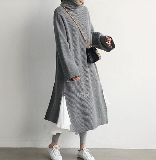 2020★秋冬新作★ハイネック★ワンピース★メリヤス★厚い★長袖★保温★3色