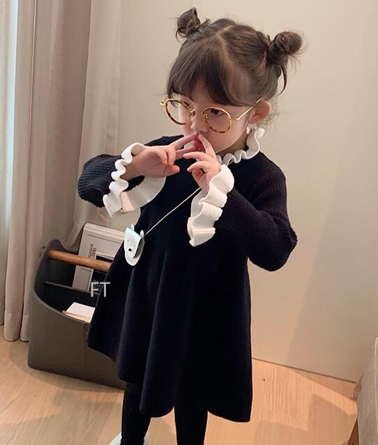 2020秋冬新作アパレル★子供 キッズ服★長袖 セーター ワンピース★ドレス★80-140cm