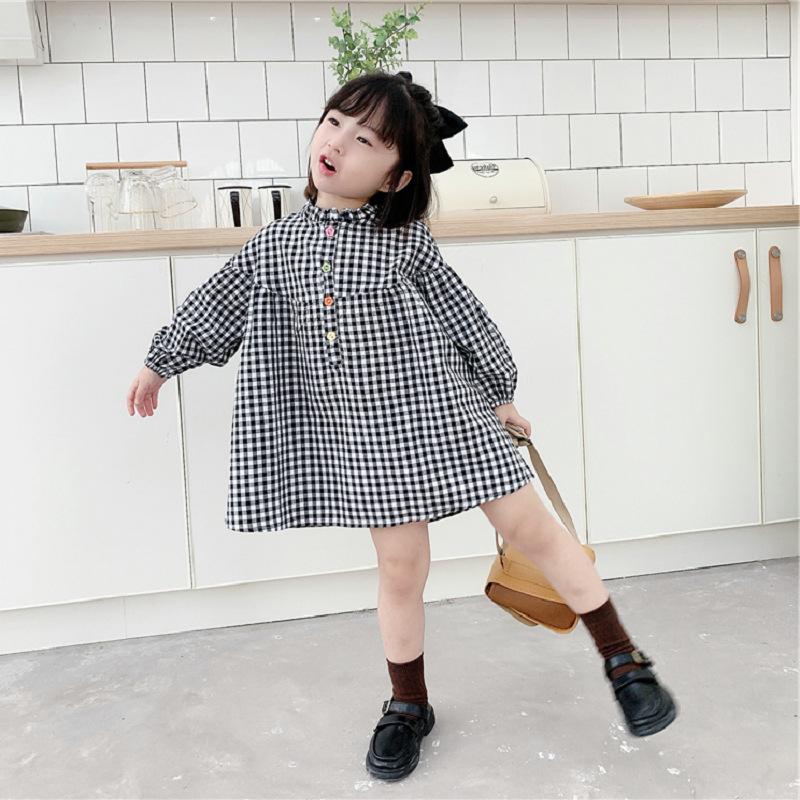 キッズ春新作 3-8歳女の子 ワンピ  シフトドレス 長袖ワンピース チェック柄 韓国風子供服 7-15