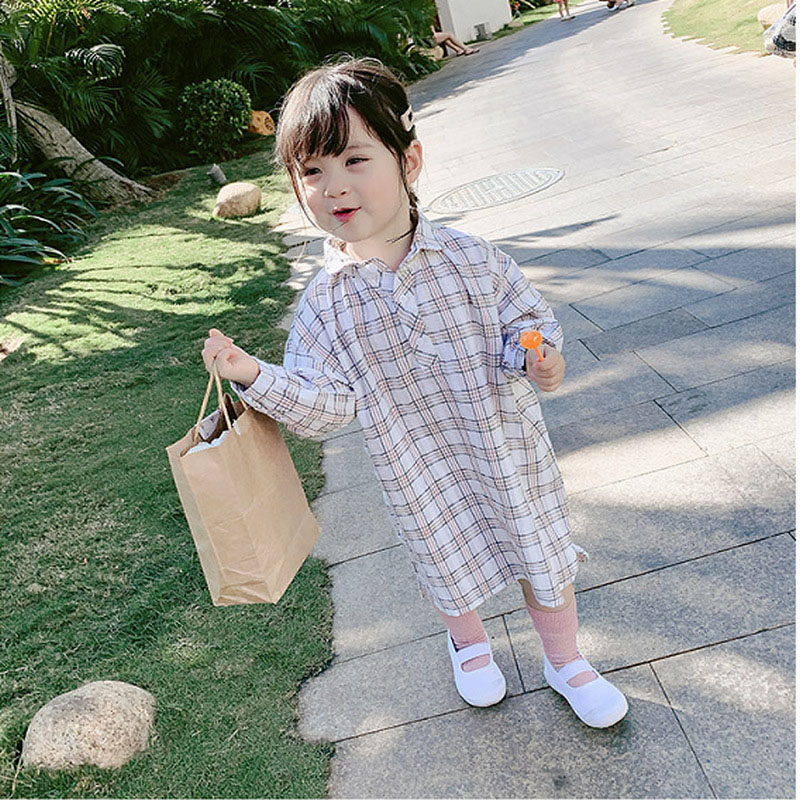 キッズ春新作 3-8歳女の子 ワンピ  シャツドレス ロングシャツ ワンピース チェック柄 韓国風子供服 7-15
