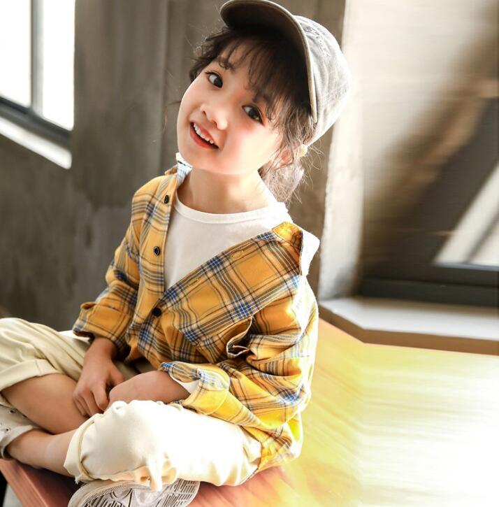 2021新品★シャツ★ワイシャツ★長袖★子供服★キッズ女の子★チェック柄★2色★90-130CM