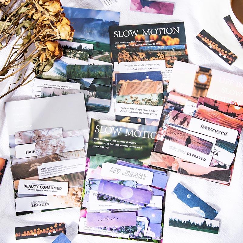 塩系文具シール貼紙 手帳素材 封口貼 マカロンカラー 可愛い 春 風景写真 植物花フラワー 青い空 森 60枚入