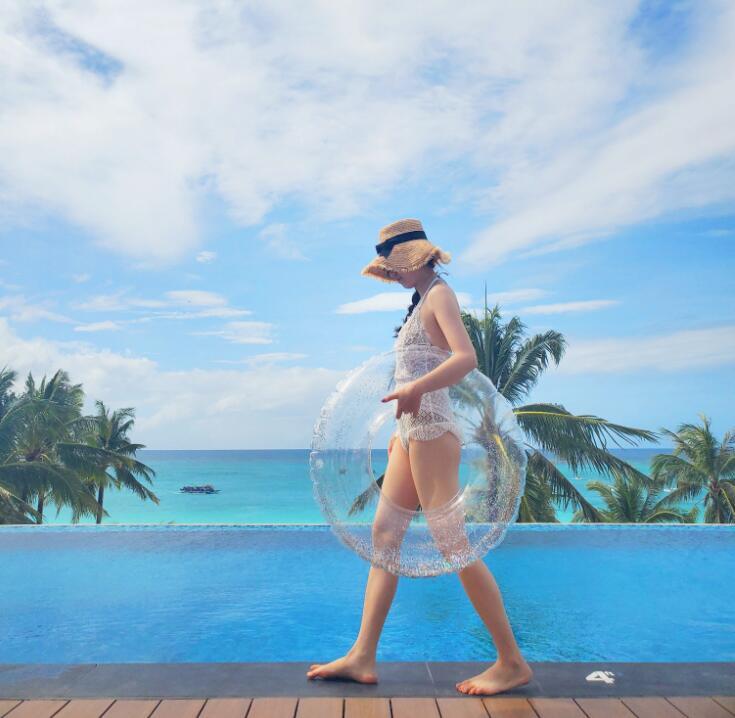 2021年新作★砂浜★水泳★コースター★キッズ★浮き輪★大人用★透明感★可愛い★2色