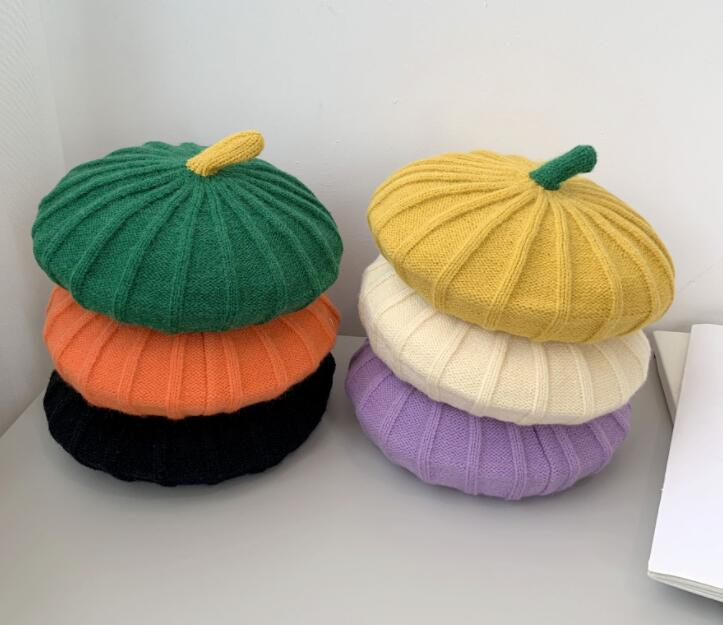 新作/韓国風/子供用帽子/キッズ帽子/ベレー帽/カボチャ/帽子/可愛い/7色