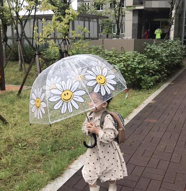 2021★春夏新作★可愛い雨傘★防風★透明★笑顔★菊★子供用