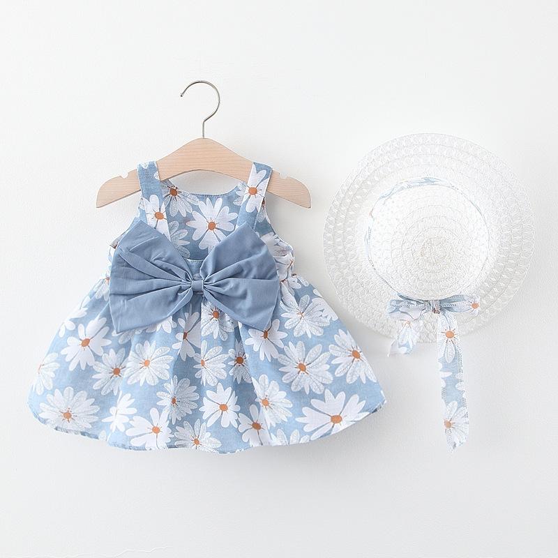 INS幼児夏新作☆ベビー☆リボン キャミソール☆ベビー服☆ワンピース 花柄☆帽子+ワンピ☆70-100cm