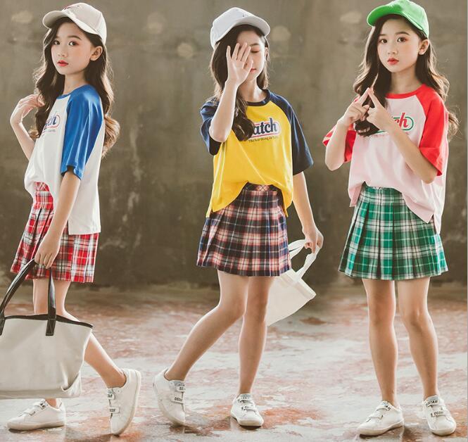 2020★夏新作★ファッション★スーツ★Tシャツ+半身スカート★半袖セット★子供服★3色 90-150CM
