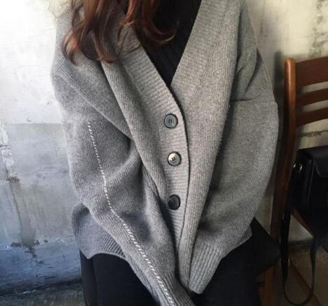 2020年新作★韓国スタイル★ニットコート★コート★長袖★ファッション★オーバーサイズ★2色