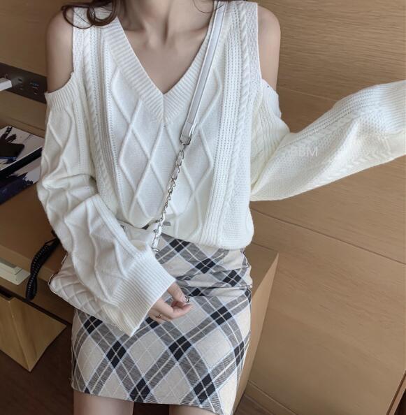 2020★秋冬新作★ファッション★Vネック★長袖★保温★セーター★2色
