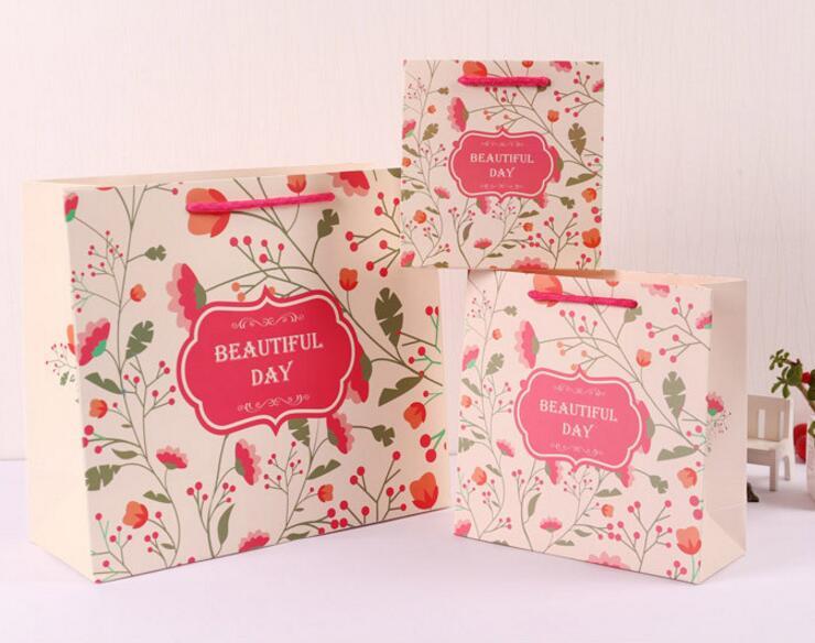 【業務用】包装資材★花柄 紙袋★お土産袋★クラフト紙袋★ハトロン紙袋★ギフトバック★手提げ紙袋