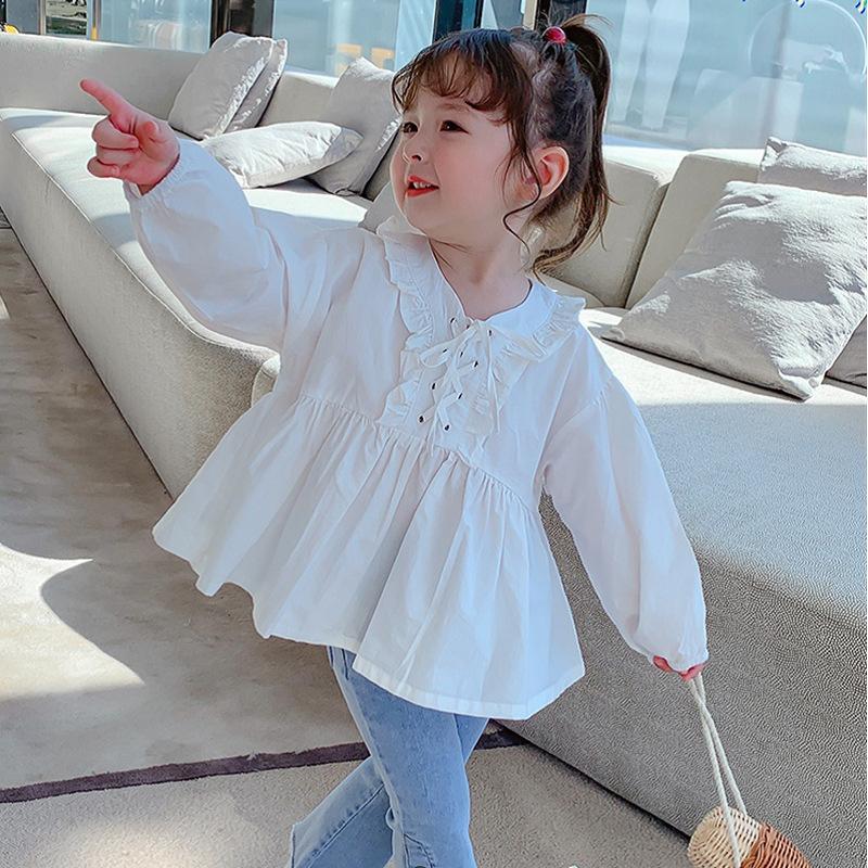 キッズ春新作 3-8歳女の子 ブラウス  長袖シャツ 上着  無地  フリル ゆとり 韓国風子供服 7-15