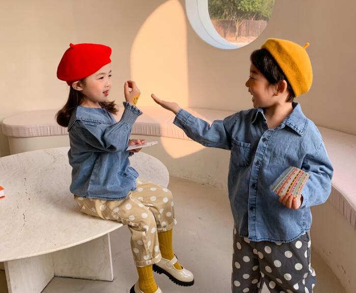 2021春夏新作★子供服★キッズ★韓国子供服★シャツ★長袖★キッズ★女の子★男の子★2色80-120