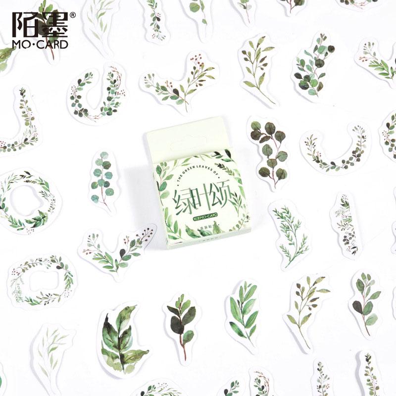 春夏新作 塩系文具 シール貼紙 ビンテージ 手帳素材 封口貼 可愛い 自然植物 葉 46枚入