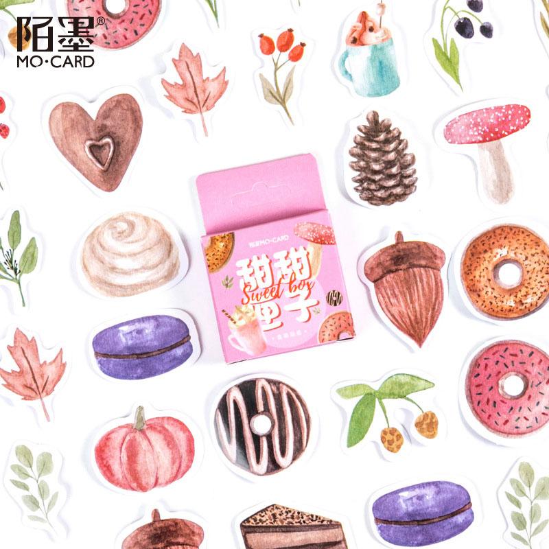 春夏新作 文具 シール貼紙 ビンテージ 手帳素材 封口貼 可愛い 植物キノコ スイーツ デザート食べ物46枚入