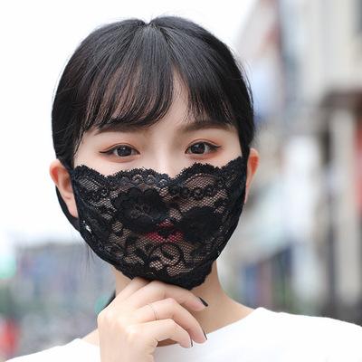 夏マスク☆冷感 マスク☆大人用 ☆ レースマスク☆ 防塵☆花粉症☆ウイルス対策☆4色